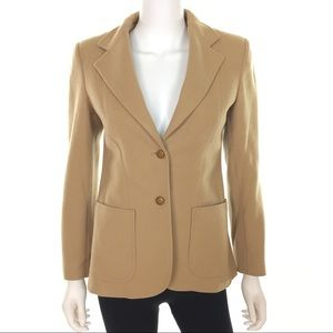 Vintage 100% Wool Tan Fitted Blazer Jacket